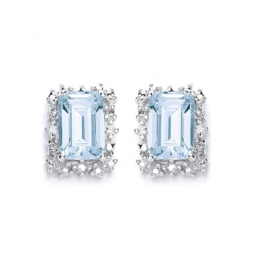 RP Silver Earrings FF Sky Blue Topaz/CZ Oblong Studs