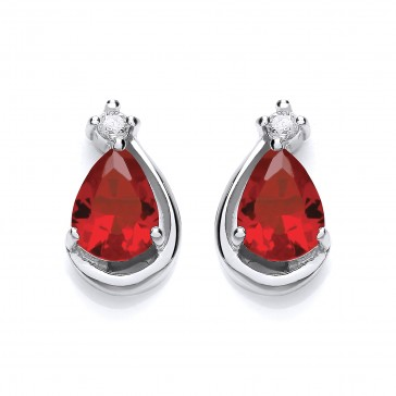 RP Silver Earrings FF Ruby CZ Pear Studs