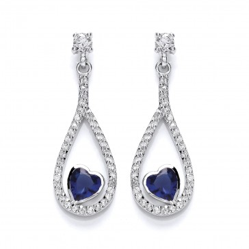 RP Silver Earrings FF Sapphire CZ Open Drops