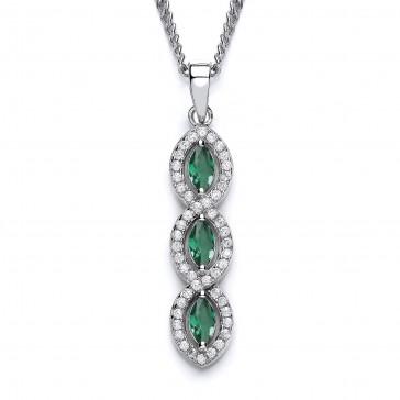 RP Silver Pendant Green/White CZ