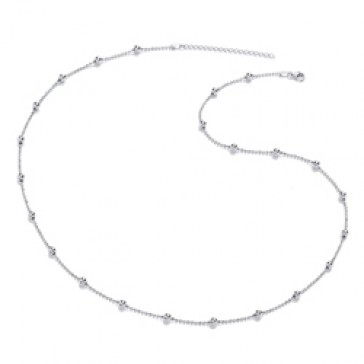 Rhodium Plated Silver Necklet Ball 22/24""