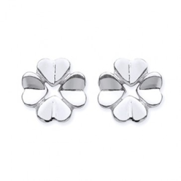 Rhodium Plated Silver Earrings F.F. Flower Studs