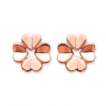 Rose Gold Plated Silver Earrings F.F. Flower Studs