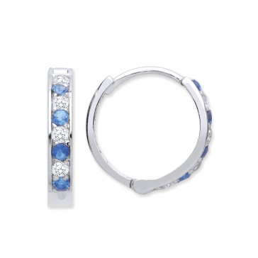 RP Silver Earrings Blue CZ/CZ Hinged