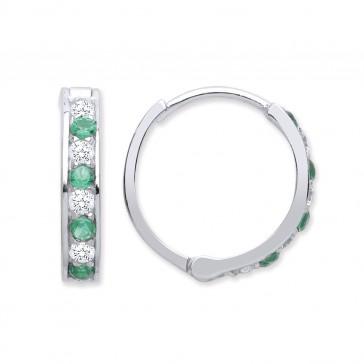 RP Silver Earrings Green CZ/CZ Hinged