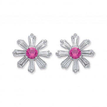 RP Silver Earrings FF Red CZ/CZ Studs