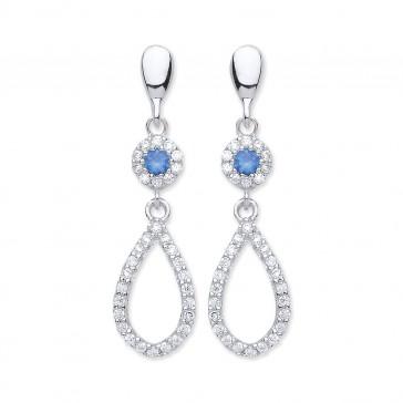 RP Silver Earrings FF Blue CZ/CZ Open Drops
