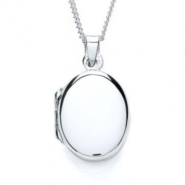 RP Silver Locket Plain Oval