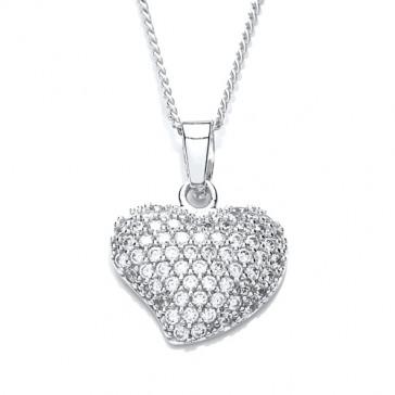 RP Silver Pendant CZ Set Heart