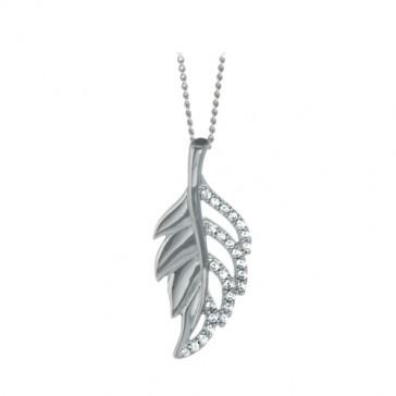 RP Silver Pendant CZ Leaf