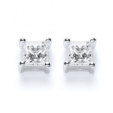 RP Silver Earrings FF Swarovski Princess Studs