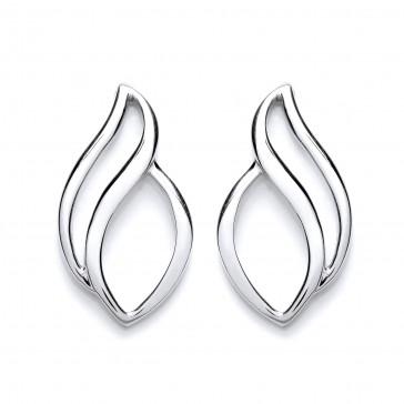 RP Silver Earrings FF Open Polished Studs