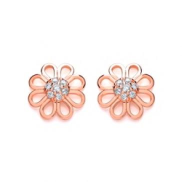 RGP Silver Earrings FF CZ Open Flower Studs