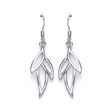 RP Silver Earrings HW Open Leaf Drops