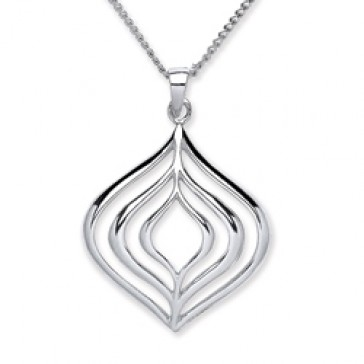 Rhodium Plated Silver Pendant Polish Open Round