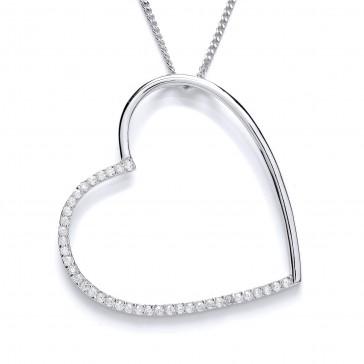 "RP Silver Pendant CZ Open Heart 22"""