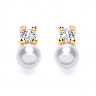 GP Silver Earrings FF CZ/Imitation Pearl Studs