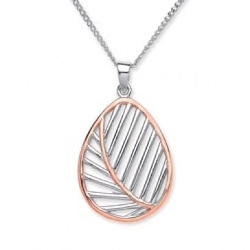 Rhodium Plated/Rose Gold Plated Silver Pendant Leaf