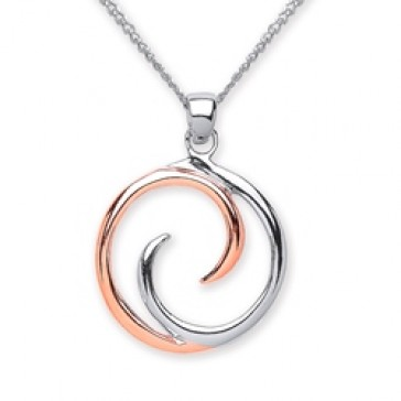 Rhodium Plated/Rose Gold Plated Silver Pendant Circle
