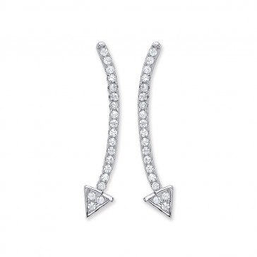 RP Silver Earrings FF CZ Curved Arrow Studs