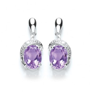 RP Silver Earrings FF Amethyst/CZ Studs