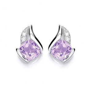 RP Silver Earrings FF Amethyst/CZ Studs