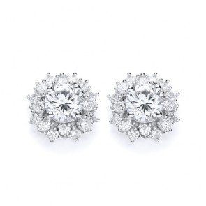 RP Silver Earrings FF CZ Cluster Studs