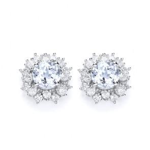 RP Silver Earrings FF Sky Blue Topaz/CZ Cluster Studs
