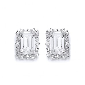 RP Silver Earrings FF CZ Oblong Studs