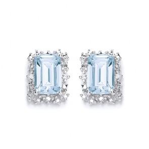RP Silver Earrings FF Sky Blue Topaz/CZ Oblong Studs
