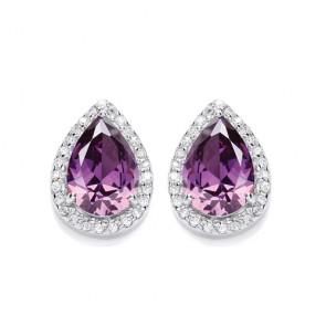 RP Silver Earrings FF Amethyst CZ Pear Studs