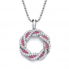 RP Silver Pendant Ruby CZ/CZ Open Round