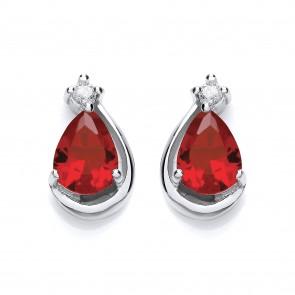 RP Silver Earrings FF Ruby CZ Pear Studs