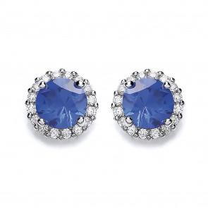 RP Silver Earrings FF Blue/White CZ Studs