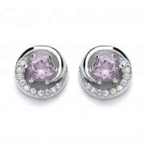 RP Silver Earrings FF Amethyst/CZ Round Studs
