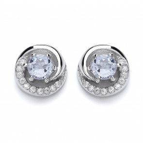 RP Silver Earrings FF Sky Blue Topaz/CZ Round Studs