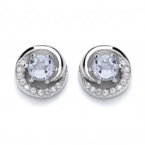 RP Silver Earrings FF Sky Blue Topaz/CZ Round Studs