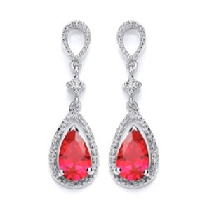 RP Silver Earrings FF Red/White CZ Drops