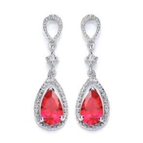 RP Silver Earrings FF Red/White CZ Drops