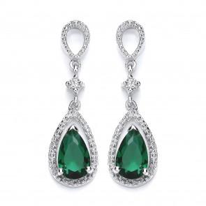 RP Silver Earrings FF Green/White CZ Drops