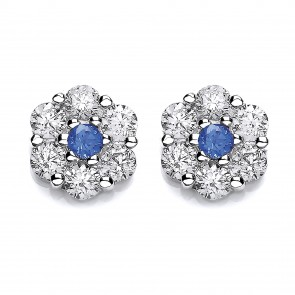 RP Silver Earrings FF Blue/White CZ Cluster Studs
