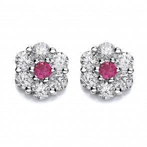 RP Silver Earrings FF Red/White CZ Cluster Studs