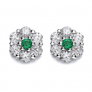 RP Silver Earrings FF Green/White CZ Cluster Studs