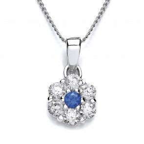 RP Silver Pendant Blue/White CZ  Cluster