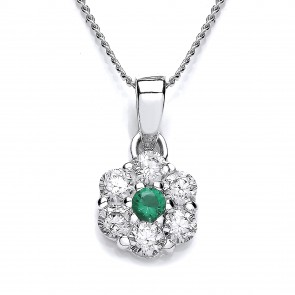 RP Silver Pendant Green/White CZ Cluster