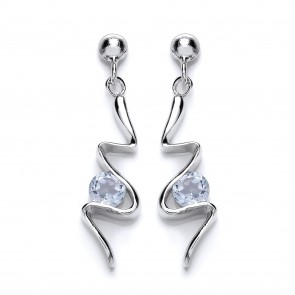RP Silver Earrings FF Sky Blue Topaz/CZ Fancy Drops