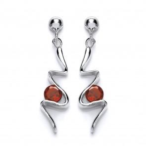 RP Silver Earrings FF Garnet/CZ Fancy Drops