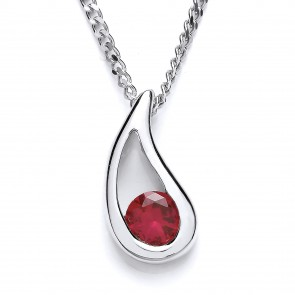 RP Silver Pendant Red Crystal