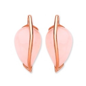Rose Gold Plated Silver Earrings F.F. Rose Quartz Studs