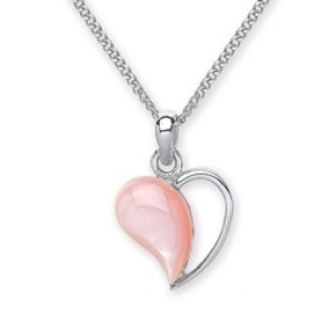 Rhodium Plated Silver Pendant Pink Mother of Pearl
